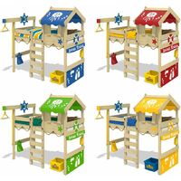 WICKEY Kid´s bed, loft bed Crazy Jelly blue canvas cover single bed 90 x 200 cm, children´s bed