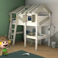 WICKEY Kid´s bed, loft bed CrAzY Island canvas cover single bed 90 x 200 cm, children´s bed