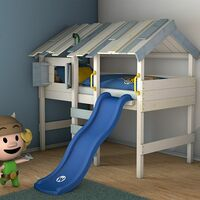WICKEY Kid´s bed, loft bed CrAzY Lagoon with slide single bed 90 x 200 cm, children´s bed