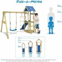 WICKEY Wooden climbing frame TinyLoft with swing set and green slide, Garden playhouse with sandpit, climbing wall & play-accessories