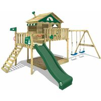 WICKEY Wooden climbing frame Smart Coast with swing set and green slide, Playhouse on stilts for kids with sandpit, climbing ladder & play-accessories