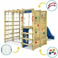 WICKEY Wooden climbing frame Smart Allstar with green slide, Garden playhouse with climbing wall & play-accessories