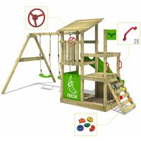 FATMOOSE Wooden climbing frame FruityForest with swing set and green slide, Garden playhouse with sandpit, climbing ladder & play-accessories