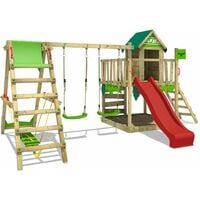 FATMOOSE Wooden climbing frame JazzyJungle with swing set SurfSwing and red slide, Playhouse on stilts for kids with sandpit, climbing ladder & play-accessories