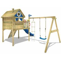 WICKEY Wooden climbing frame Smart Travel with swing set and green slide, Playhouse on stilts for kids with climbing ladder & play-accessories