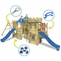 WICKEY Wooden climbing frame The Golden Goat with swing set and blue Knight's playcastle with sandpit, climbing ladder & play-accessories