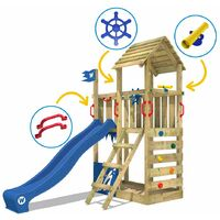 WICKEY Wooden climbing frame Smart Flash with blue slide, Garden playhouse with sandpit, climbing ladder & play-accessories