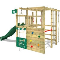 WICKEY Wooden climbing frame Smart Champ with green slide, Garden playhouse with climbing wall & play-accessories