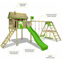 FATMOOSE Wooden climbing frame FunFactory with swing set SurfSwing and apple green slide, Playhouse on stilts for kids with climbing ladder & play-accessories