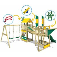WICKEY Wooden climbing frame Smart Cruiser with swing set and blue slide, Playhouse on stilts for kids with sandpit, climbing ladder & play-accessories