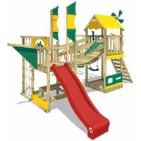 WICKEY Wooden climbing frame Smart Cruiser with swing set and red slide, Playhouse on stilts for kids with sandpit, climbing ladder & play-accessories