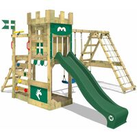 WICKEY Wooden climbing frame DragonFlyer with swing set and green slide, Knight's playcastle with sandpit, climbing ladder & play-accessories