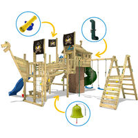 WICKEY Wooden climbing frame Neverland GOLD with swing set and blue slide, Playhouse on stilts for kids with climbing ladder & play-accessories