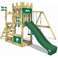 WICKEY Wooden climbing frame RoyalFlyer with swing set and green slide, Knight's playcastle with sandpit, climbing ladder & play-accessories