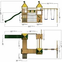 WICKEY Wooden climbing frame Smart King with swing set and green slide, Knight's playcastle with sandpit, climbing ladder & play-accessories