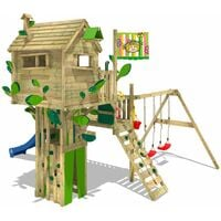 WICKEY Wooden climbing frame Smart Treetop with swing set and blue slide, Playhouse on stilts for kids with climbing ladder & play-accessories