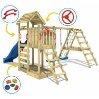 WICKEY Wooden climbing frame RocketFlyer with swing set and green slide, Garden playhouse with sandpit, climbing ladder & play-accessories