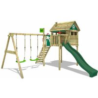 FATMOOSE Wooden climbing frame FunFactory with swing set and green slide, Playhouse on stilts for kids with climbing ladder & play-accessories