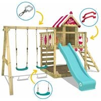 WICKEY Wooden climbing frame Smart Candy with swing set and purple slide, Playhouse on stilts for kids with sandpit, climbing ladder & play-accessories