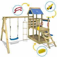 WICKEY Wooden climbing frame TurboFlyer with swing set and green slide, Garden playhouse with sandpit, climbing ladder & play-accessories