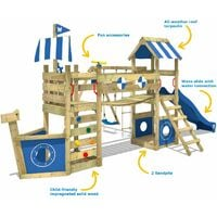 WICKEY Wooden climbing frame StormFlyer with swing set and blue slide, Playhouse on stilts for kids with sandpit, climbing ladder & play-accessories