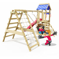 Climbing Frame Rapid Heroows Wooden Swing Set with Climbing Extension and Climbing Wall, Sandpit, Swing & Red Slide