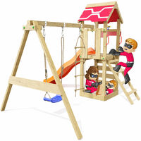 Climbing Frame Active Heroows Swing Set with Sandpit and Climbing Wall, Swing & Orange Slide, Lots of Accessories