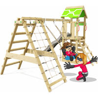 Climbing Frame Rapid Heroows Wooden Swing Set with Climbing Attachment and Climbing Wall, Sandpit, Swing & Anthracite Slide