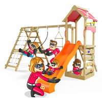 Climbing Frame Rapid Heroows Wooden Swing Set with Climbing Extension and Climbing Wall, Sandpit, Swing & Orange Slide