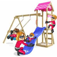 Climbing Frame Fast Heroows Kids Swing Set for the Garden with Blue Slide & Sandpit