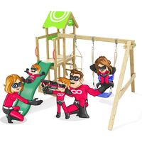 Climbing Frame Caring Heroows Swing Set with Climbing Ladder, Sandpit, Swing & Green Slide