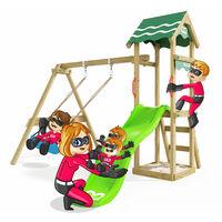 Climbing Frame Fast Heroows Kids Swing Set for the Garden with Apple Green Slide & Sandpit