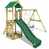 WICKEY Wooden climbing frame FreeFlyer with swing set and green slide, Garden playhouse with sandpit, climbing ladder & play-accessories