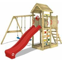 WICKEY Climbing frame MultiFlyer wooden roof with swing set and red slide, Garden playhouse with sandpit, climbing ladder & play-accessories