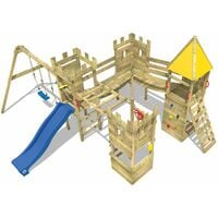 WICKEY Wooden climbing frame Smart Excalibur with swing set and blue slide, Knight's playcastle with sandpit, climbing ladder & play-accessories