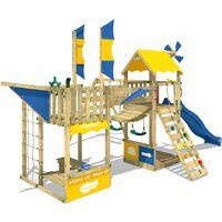 WICKEY Wooden climbing frame Smart Wing with swing set and blue slide, Playhouse on stilts for kids with sandpit, climbing ladder & play-accessories