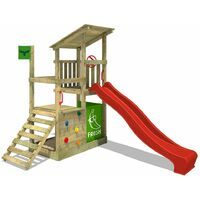 FATMOOSE Wooden climbing frame FruityForest with red slide, Garden playhouse with climbing ladder & play-accessories