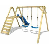 WICKEY Wooden swing set Smart Dash with blue slide Children's swing