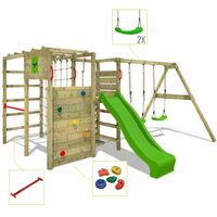 FATMOOSE Wooden climbing frame ActionArena with swing set and apple green slide, Garden playhouse with climbing wall & play-accessories
