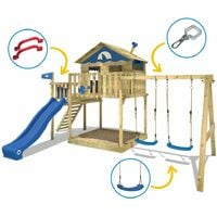WICKEY Wooden climbing frame Smart Coast with swing set and blue slide, Playhouse on stilts for kids with sandpit, climbing ladder & play-accessories