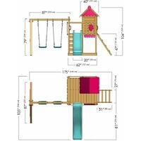 WICKEY Wooden climbing frame Smart Candy with swing set and red slide, Playhouse on stilts for kids with sandpit, climbing ladder & play-accessories