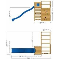 WICKEY Wooden climbing frame Smart Victory with green slide, Garden playhouse with climbing wall & play-accessories