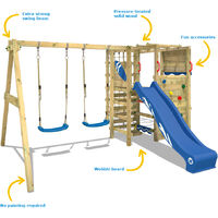 WICKEY Wooden climbing frame Smart Zone with swing set and blue slide, Garden playhouse with climbing wall & play-accessories