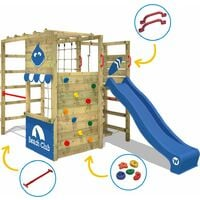 WICKEY Wooden climbing frame Smart Tactic with red slide, Garden playhouse with climbing wall & play-accessories