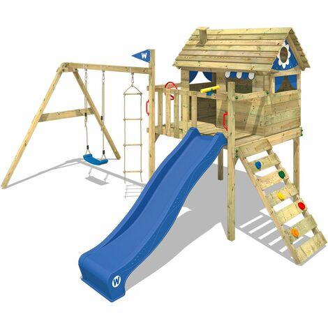 WICKEY Parque infantil de madera Smart Travel con columpio y tobogán azul Casa sobre pilares de exterior con escalera para niños