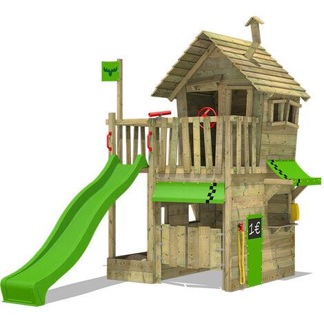 FATMOOSE Parque infantil de madera RebelRacer con tobogán manzana verde Casa de juegos de jardín con arenero y escalera para niños