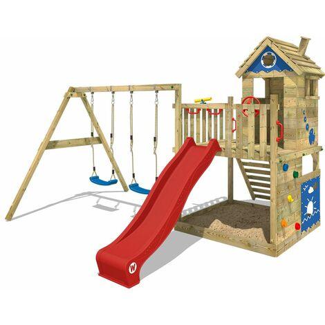 WICKEY Parque infantil de madera Smart Lodge 120 con columpio y tobogán rojo Casa de juegos de jardín con arenero y escalera para niños