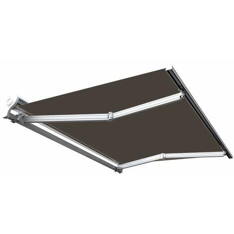 Store banne manuel Demi coffre pour terrasse - Taupe - 2,5 x 2 m
