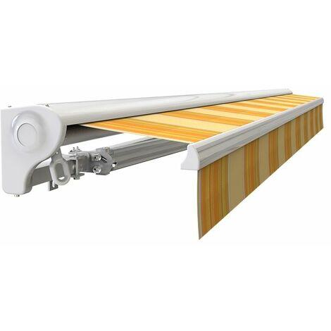Store banne Demi coffre motorisé et manuel pour terrasse - Jaune rayé - 2,5 x 2 m
