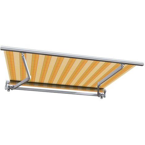 Store banne manuel Monobloc pour terrasse - Jaune rayé - 2,5 x 2 m